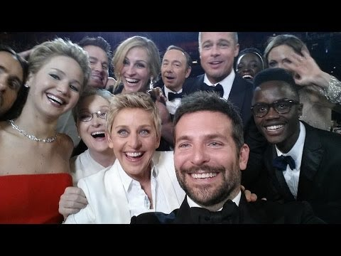 Ellen Degeneres Oscars Group SELFIE breaks Twitter Retweet record! What she was really doing.