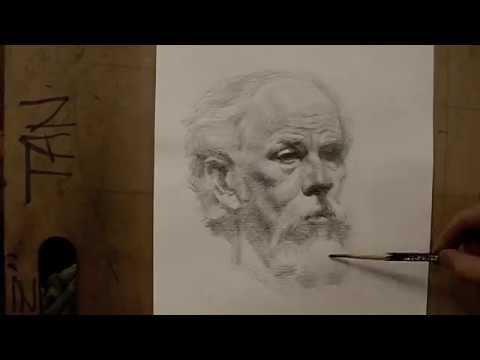 """Gregory""- 60 minutes live cross hatching drawing demo by Zimou Tan"