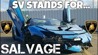 This $650,000 Lamborghini Aventador SV made it 70 Miles Before Being TOTALED! Now it's SALVAGE