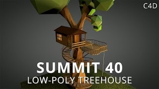 Summit 40 Low-Poly Treehouse Cinema 4D