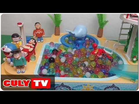 đồ chơi Doremon chế hài - siêu nhân gao matxa bi nước đã nở cùng nobita người nhện nobita tắm hồ bơi