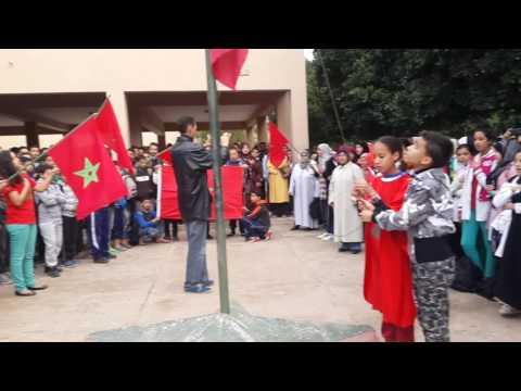 """تارودانت: أكبر لوحة للنشيد الوطني بالثانوية الاعدادية رحال المسكيني """" فيديو """""""