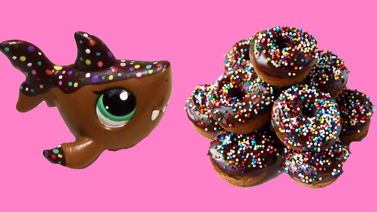 Custom lps shark chocolate rainbow sprinkle donut inspired diy