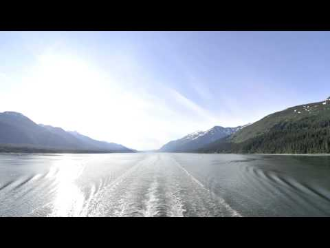 Time lapse of the Inside Passage from behind a boat in Alaska