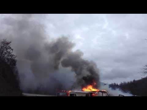 RV explodes into flames, hits fire truck