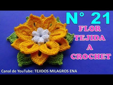 Te encantarán !!! estas lindas flores tejidas a crochet en diferentes colores con hojitas