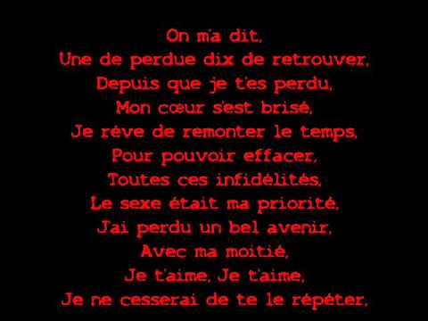 paroles de la chanson d amour et