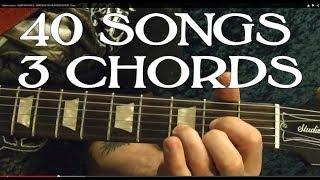 40 Popular Rock Songs, THREE Chords! ( Easy Guitar Lesson