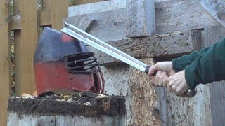 Bar Mace and Blacksmith Hammers vs. Old SCA Helmet