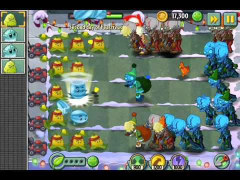 Plants vs. Zombies 2 Holiday party 5 days of Feastivus repeater new costume ios iphone gameplay