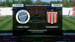 Fútbol en vivo. Godoy Cruz - Estudiantes. Fecha 16. Torneo Primera División 2014. FPT.