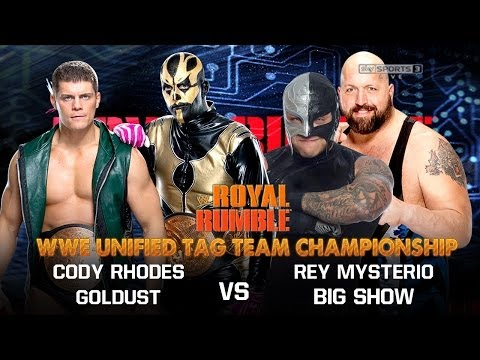 WWE Royal Rumble 2014 - Cody Rhodes Goldust Vs Rey Mysterio Big Show Full Match HD