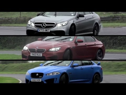 Mercedes-Benz E63 AMG S v BMW M6 Gran Coupe v Jaguar XFR-S - /CHRIS HARRIS ON CARS