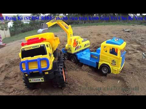 Dump truck toy at work Xe ô tô tải Máy xúc làm việc đồ chơi trẻ em Giai tri cho Be yeu