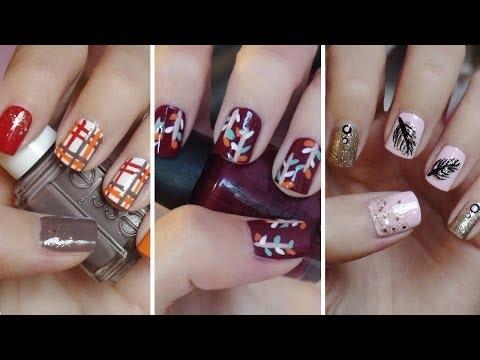 Fall Nail Art!!! Three Easy Designs!