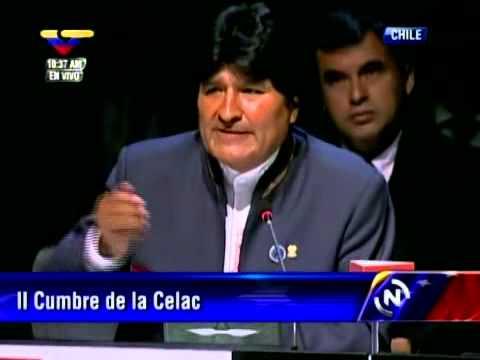 Evo Morales en la Cumbre de la CELAC hace reclamos a Piñera por salida al mar para Bolivia