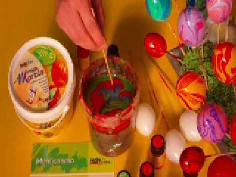 Osterdeko - Eier marmorieren