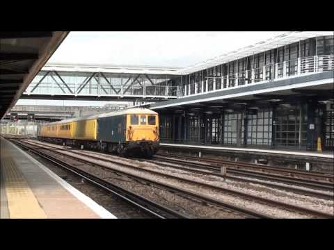 (HD) BR Blue 73201 & BR Grey 73107 passes Ashford Intl working the 1Q44 2.8.13