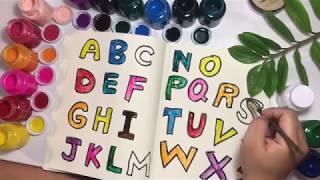 알파벳송  색칠공부 Alphabet A to Z coloring and Drawing for Kids Little Palm Art