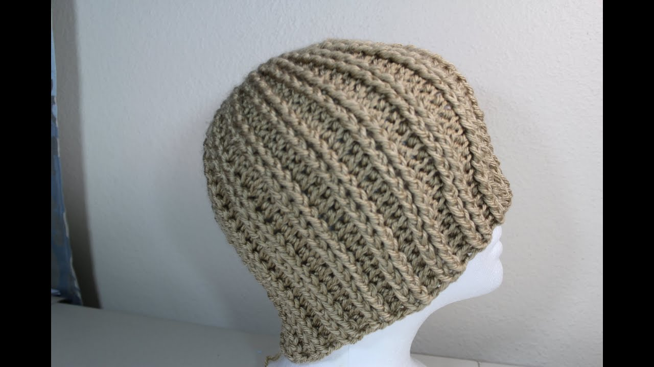 Crochet Ribbed Hat : Crochet rib hat - YouTube