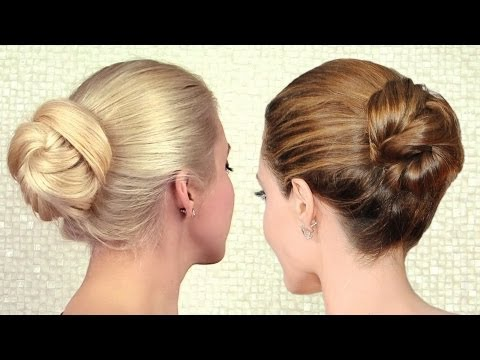 Elegant sleek bun updo inspired by Angelina Jolie | Long hair tutorial for work and special events, I'm wearing Glam Time clip in hair extensions http://www.GlamTimeHair.com in a high ponytail according to http://youtu.be/sVCeGWltsL4 I talk about my extensi...
