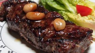 Father Day Steak! Garlic Steak with Roasted Garlic Cloves Recipe