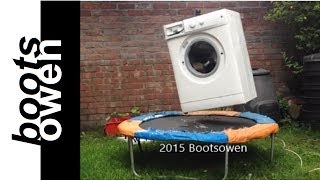 Washing Machine With A Brick Bounces on Trampoline