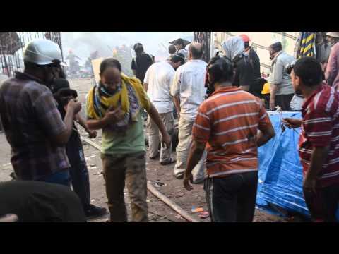 اللحظات الاخيرة قبل حرق المستشفي الميدانى Rabaa Butchery