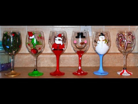 DIY: Hand Painted Wine Glasses - CHRISTMAS EDITION - kézzel festett poharak karácsonyra