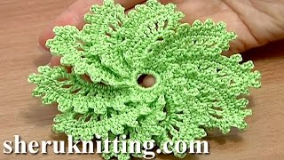 How To Crochet Spiral Flower 10 Petals Tutorial 54 Picot