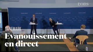 لحظة سقوط مسئولة دنماركية على الأرض  أثناء مؤتمر صحفي