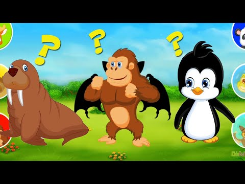 Fun puzzle animal ! Learn the names of popular animals with funny game for toddlers
