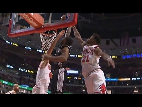 Kawhi Leonard Dunks on Butler and Lopez Spurs vs Bulls