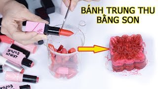 Thử thách làm Bánh Trung Thu Bằng Son - mooncake lipstick | Tiny Loly