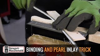 Watch the Trade Secrets Video, Neat trick for peghead binding (tiger inlay)