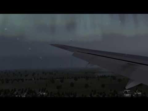BA777 Foggy Approach + Aurora Borealis X-Plane 10
