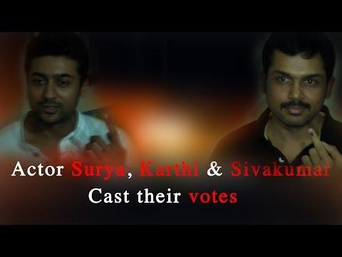 Actor Surya, Karthi & Sivakumar cast their votes - RedPix 24x7