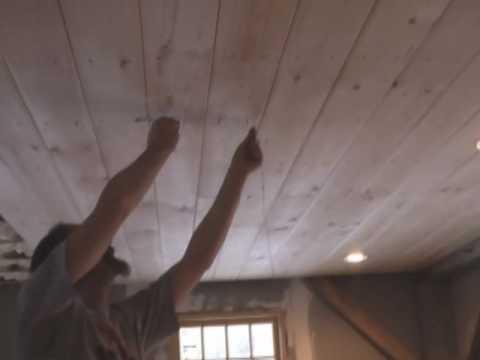 White Pine V Groove Ceiling Going Up Youtube