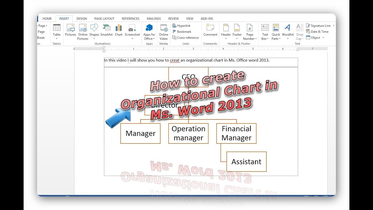 create organizational chart in office word 2013 very simple tip youtube. Black Bedroom Furniture Sets. Home Design Ideas