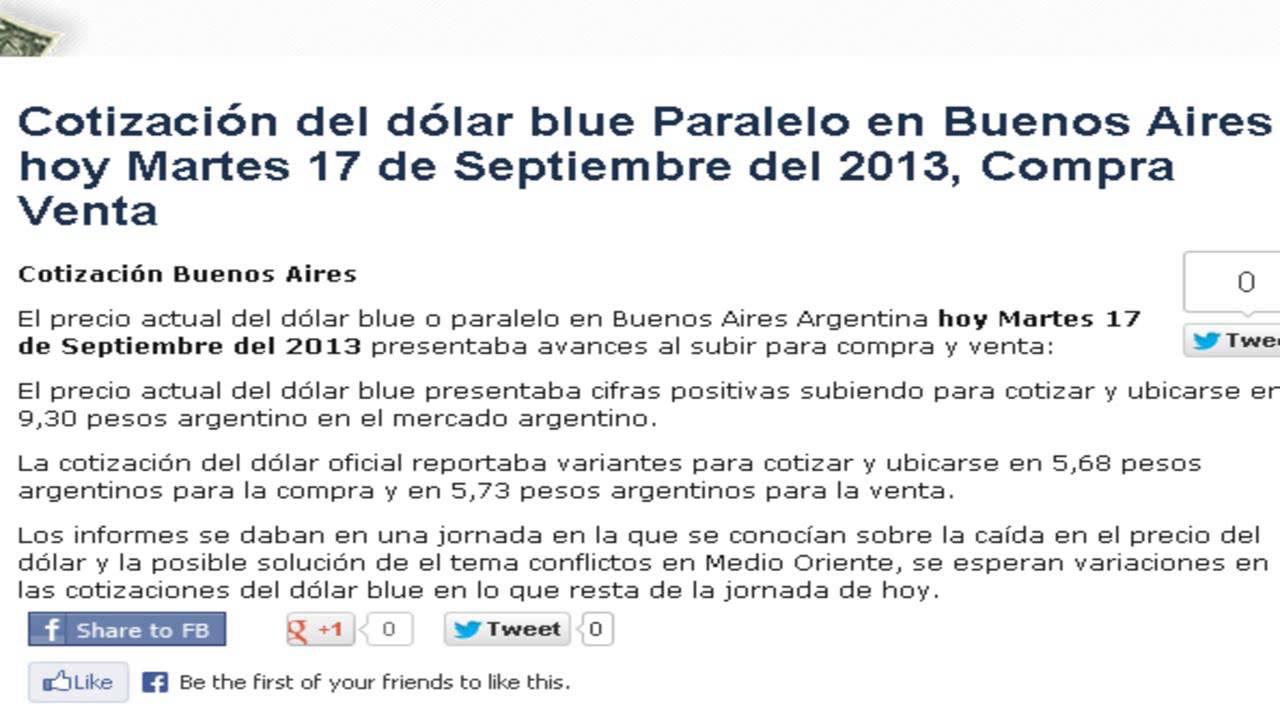 Precio del dólar paralelo blue Buenos Aires Hoy Martes 17 de Septiembre 2013 ...