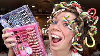 CAN IT CURL!? Candy Canes!   Curling my Hair with Candy Canes!
