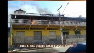 Inc�ndio atinge quatro casas em Santa Luzia na Grande BH