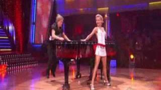 Julianne and Derek Hough performing the Jive