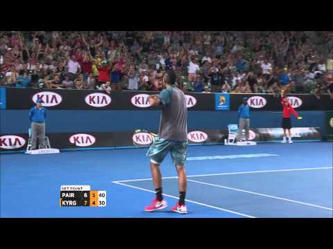 Nick Kyrgios' epic set saving shot - 2014 Australian Open