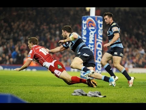 Rhys Priestland Try Cardiff Blues v Scarlets 20th April 2014