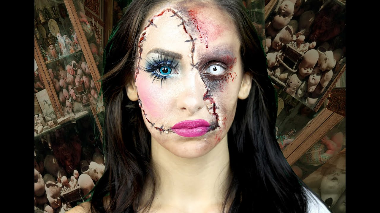 horror doll a scary halloween makeup tutorial lacindina cindysold youtube. Black Bedroom Furniture Sets. Home Design Ideas