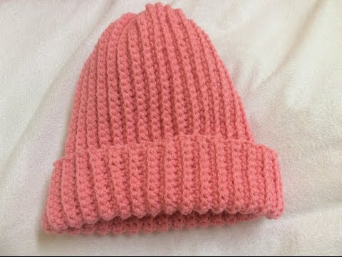 Móc mũ len  Crochet Ribbed hat