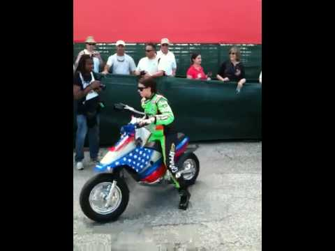 Danica Patrick Rides Off On Her Scooter @ 2010 St.Pete Grand Prix