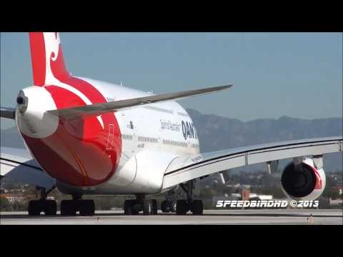 Qantas Airways Airbus A380 842 VH OQD Takeoff From Los Angeles