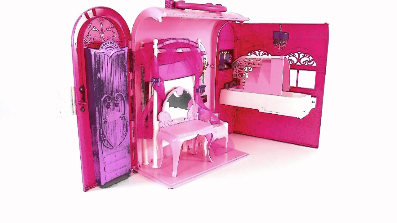 barbie dollhouse toys pink bed and bath set toy review youtube. Black Bedroom Furniture Sets. Home Design Ideas